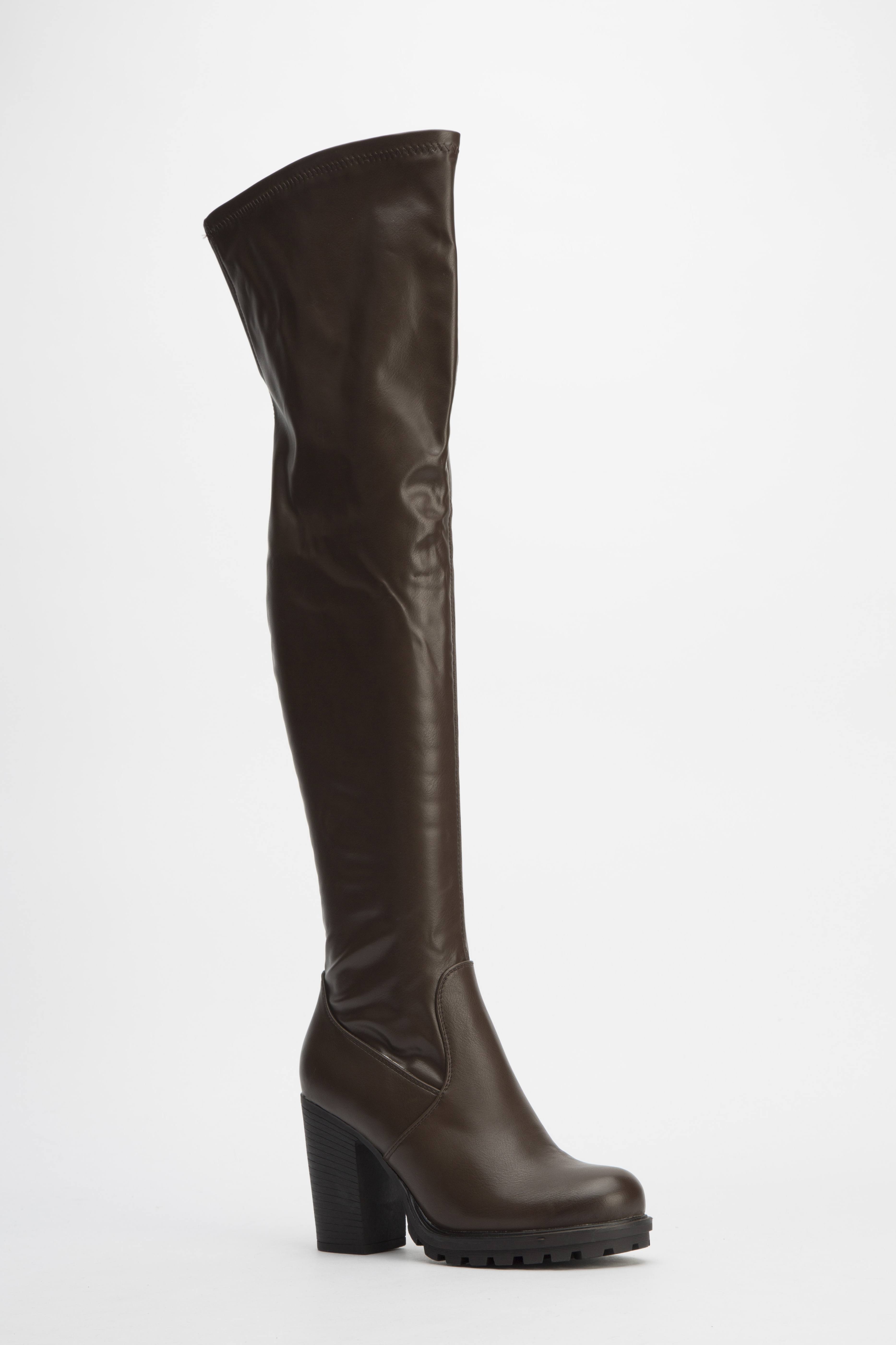 brown faux leather knee high boots just 163 5