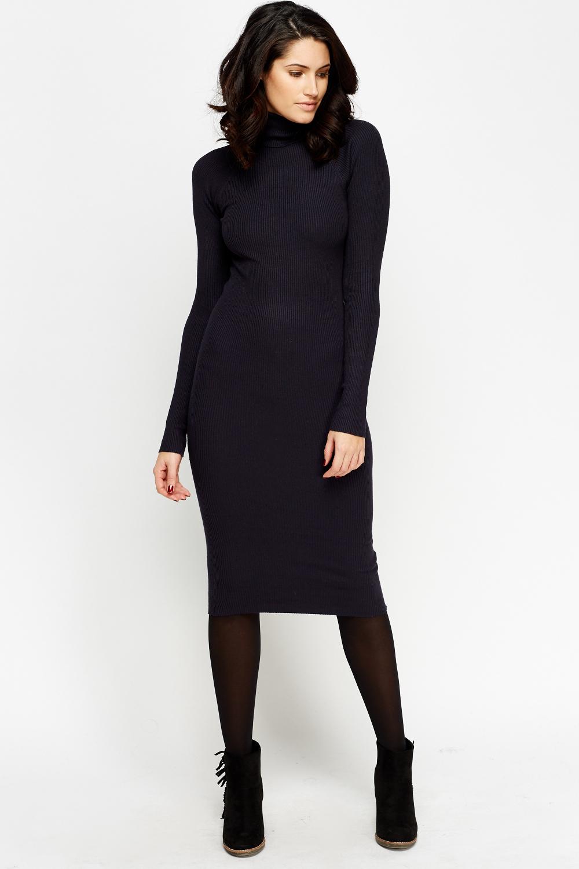 411c4bb515bbb2 High Neck Ribbed Knit Midi Dress - Just £5