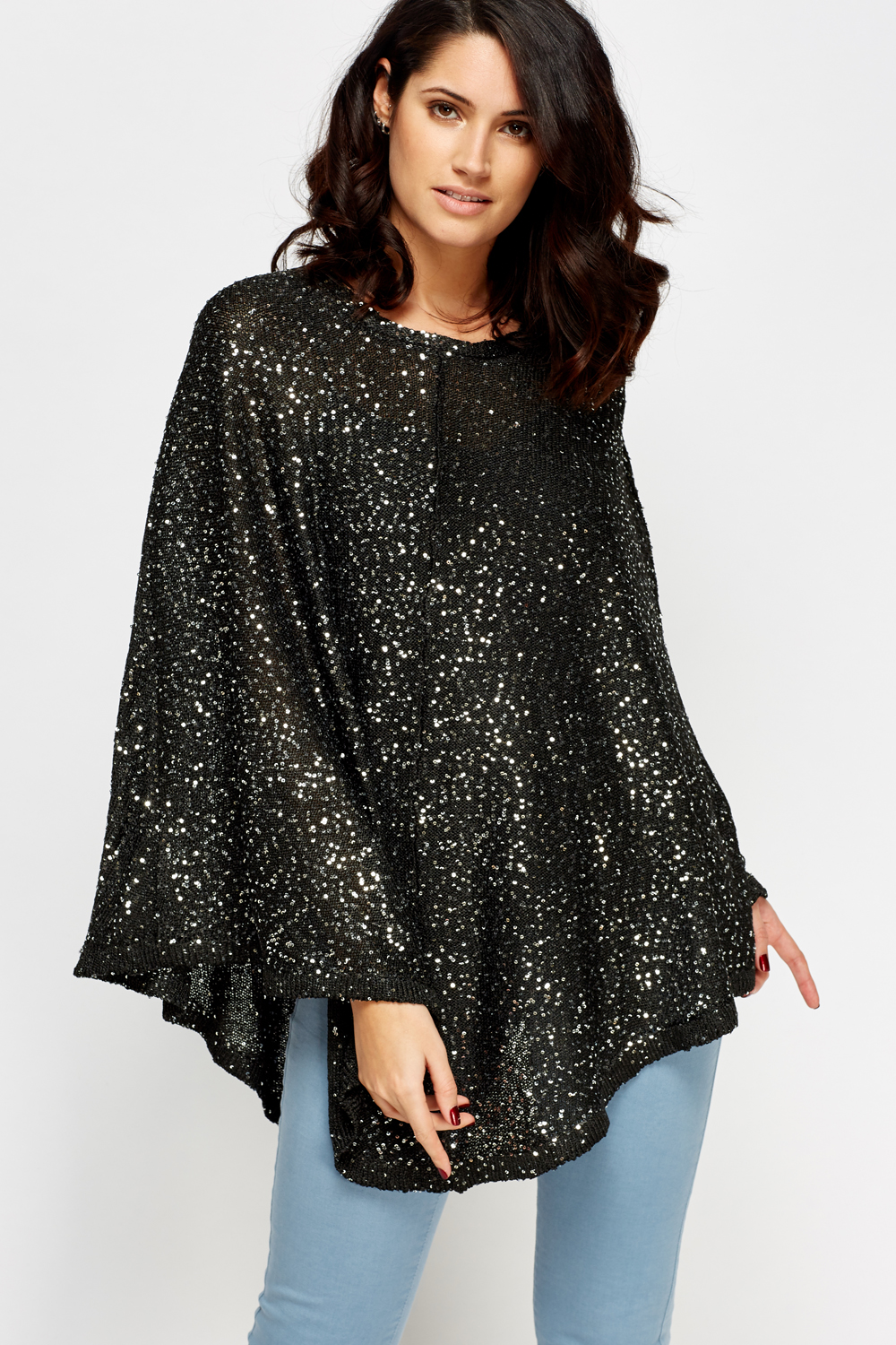 7e225d5e Sequin Embellished Knit Poncho - Just £5