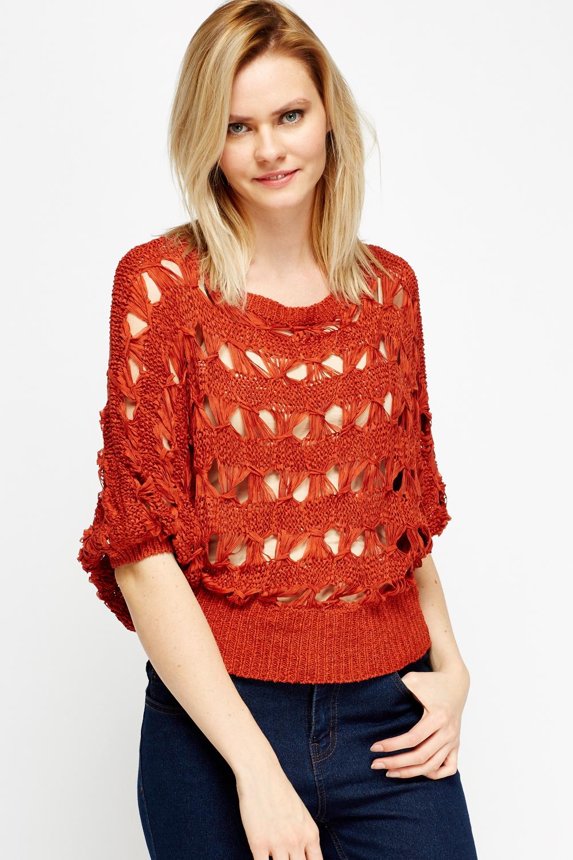 Shop Loose Knit Scalloped Dolman Sweater online. SheIn