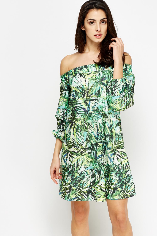 a285e0afa6bd Wild Floral Off Shoulder Dress - Just £5