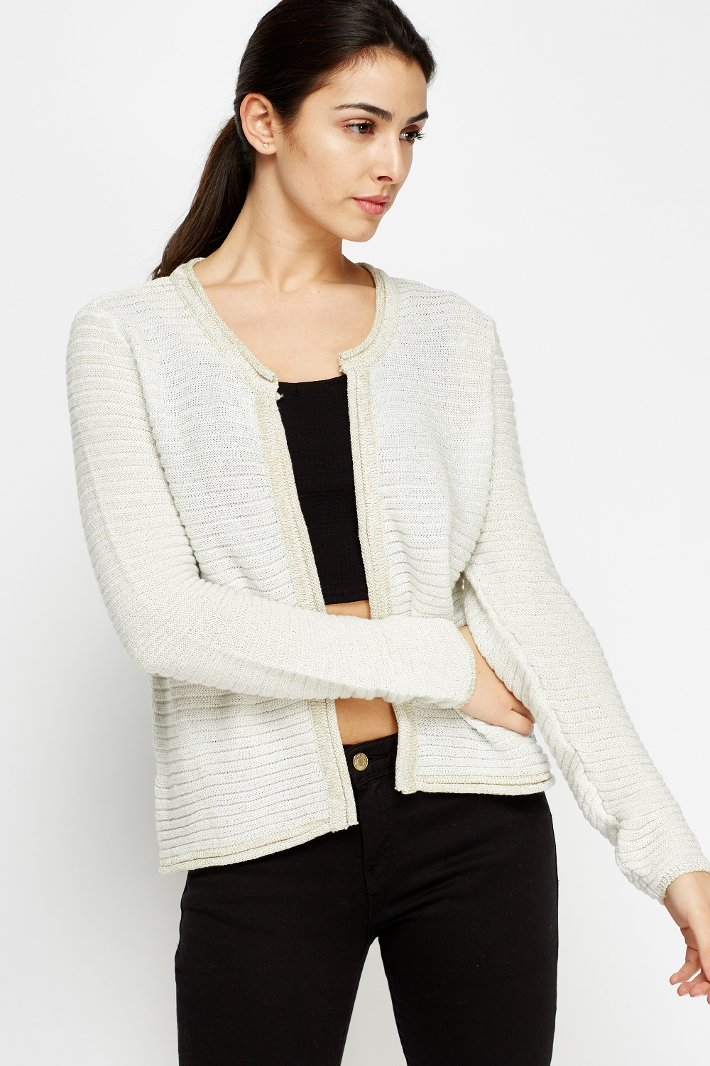 Metallic Ribbed Cropped Cardigan - Off White/Gold - Just £5