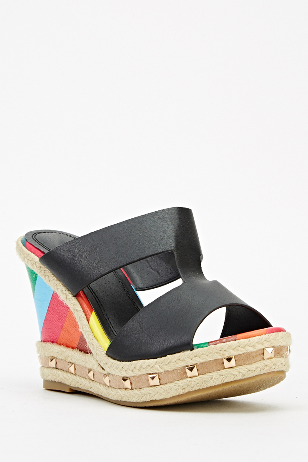 3f139601c4b Contrast Studded Rainbow Wedge Sandal - Just £5