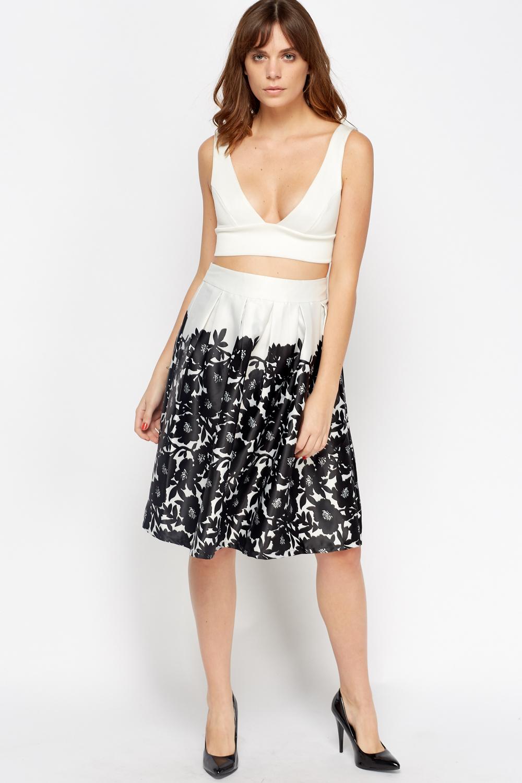 silky flower midi skirt black white just 163 5