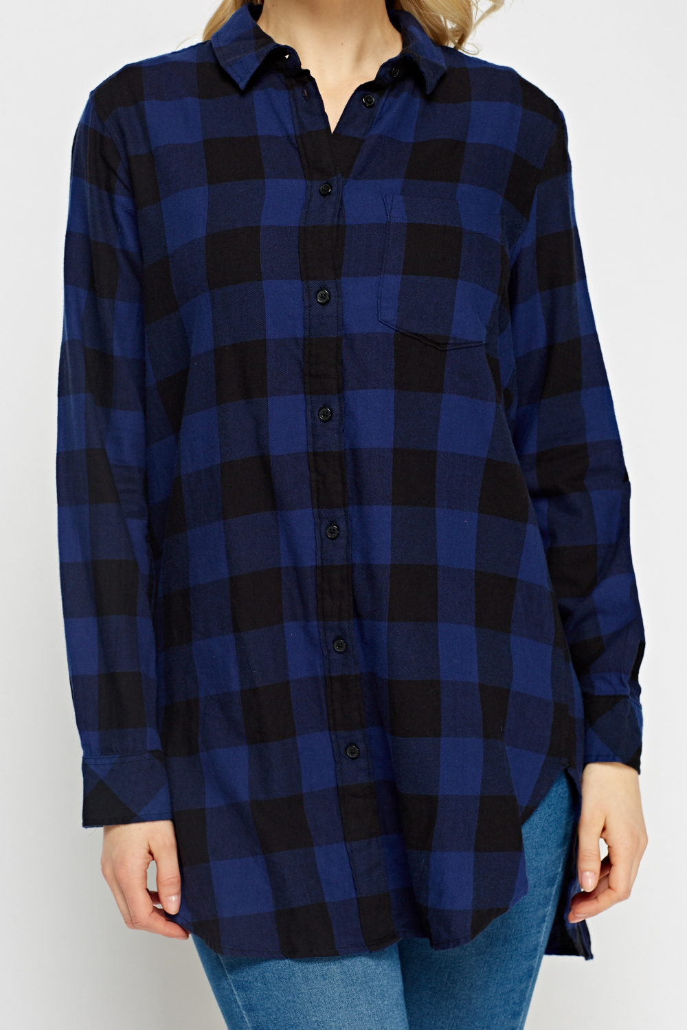 Checked Dark Blue Shirt Dark Blue Black Just 5