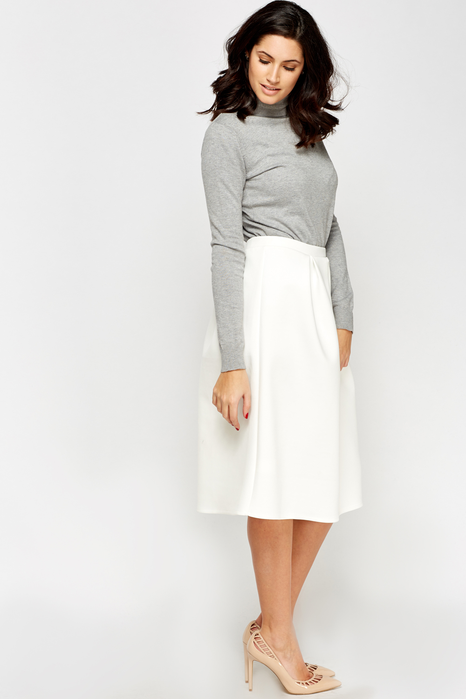 High Waist Cream Midi Skirt - Just £5