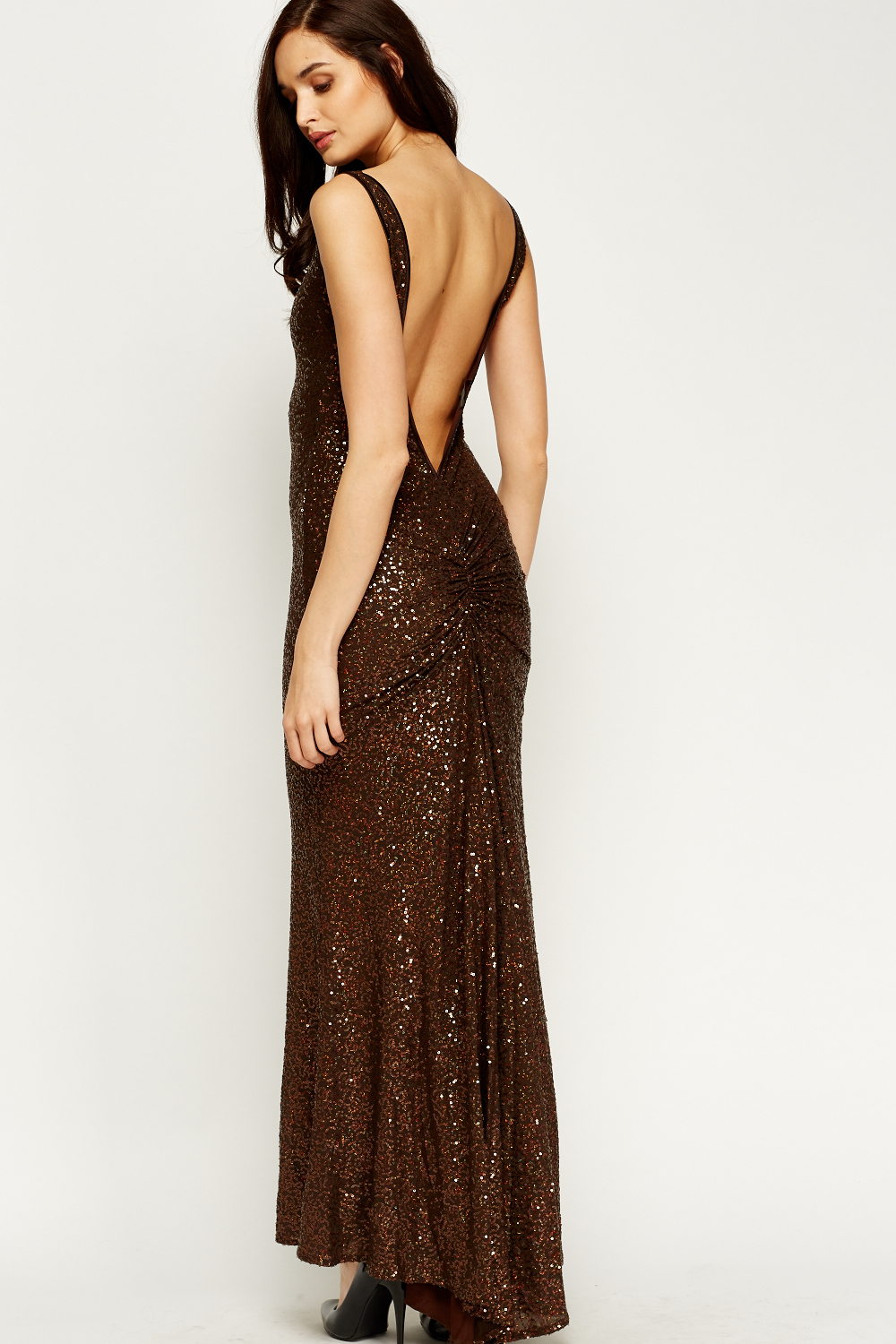 7b782c8ae8a2 Chocolate Sequin Drop Back Maxi Dress - Just £5