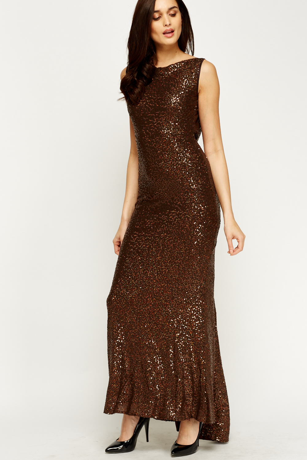 acbcaaa6121 Chocolate Sequin Drop Back Maxi Dress - Just £5