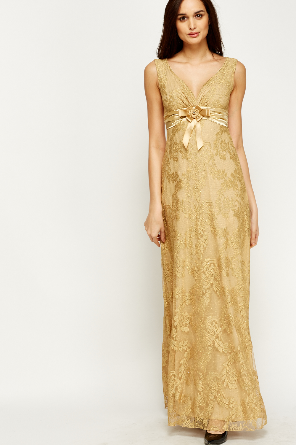 Metallic Gold Maxi Dress - Just £5