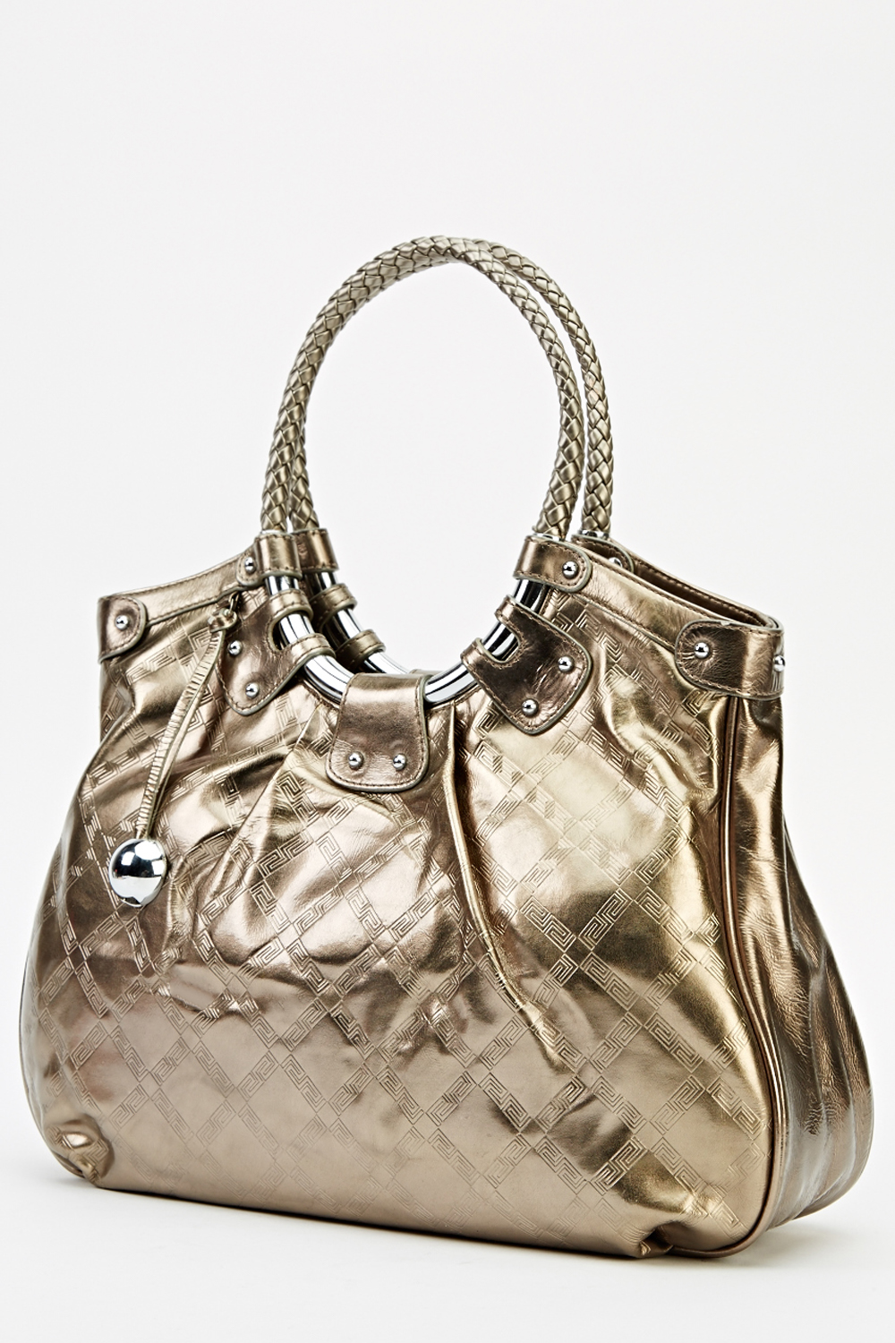 7f174dc4df Woven Round Handle Metallic Bag. Click on the image to zoom