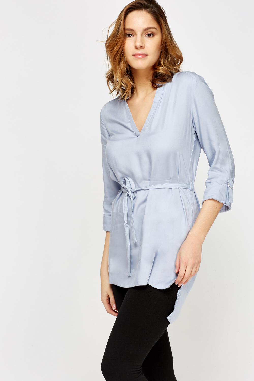 Light Blue Tie Up Shirt Dress - Just £5