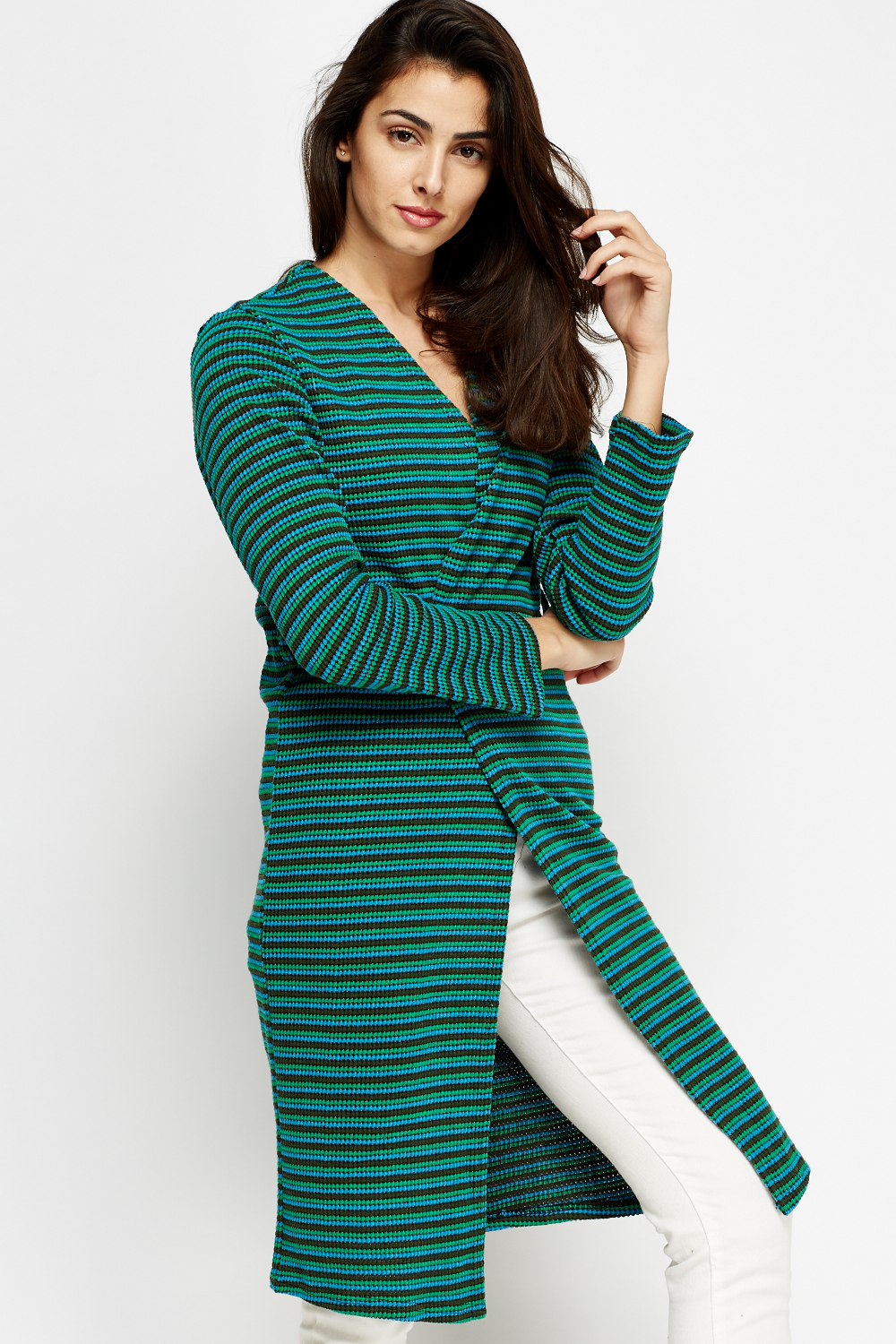 A striped cardigan is eternally in-season. This updated classic is perfected with an open front and long sleeves (and pairs perfectly with our Striped Elbow-Sleeve tee). Open-front design.