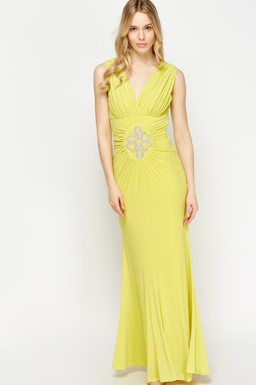 037f74e959f Encrusted Ruched Plunge Maxi Dress - Just £5