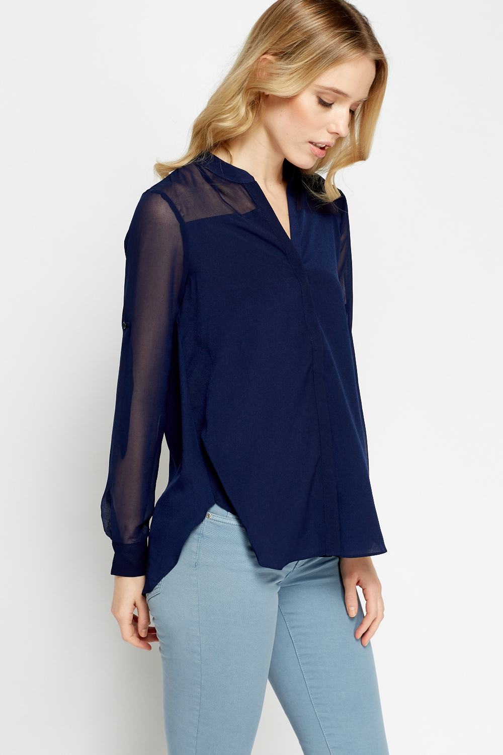 Sheer Tie Back Blouse Just 5