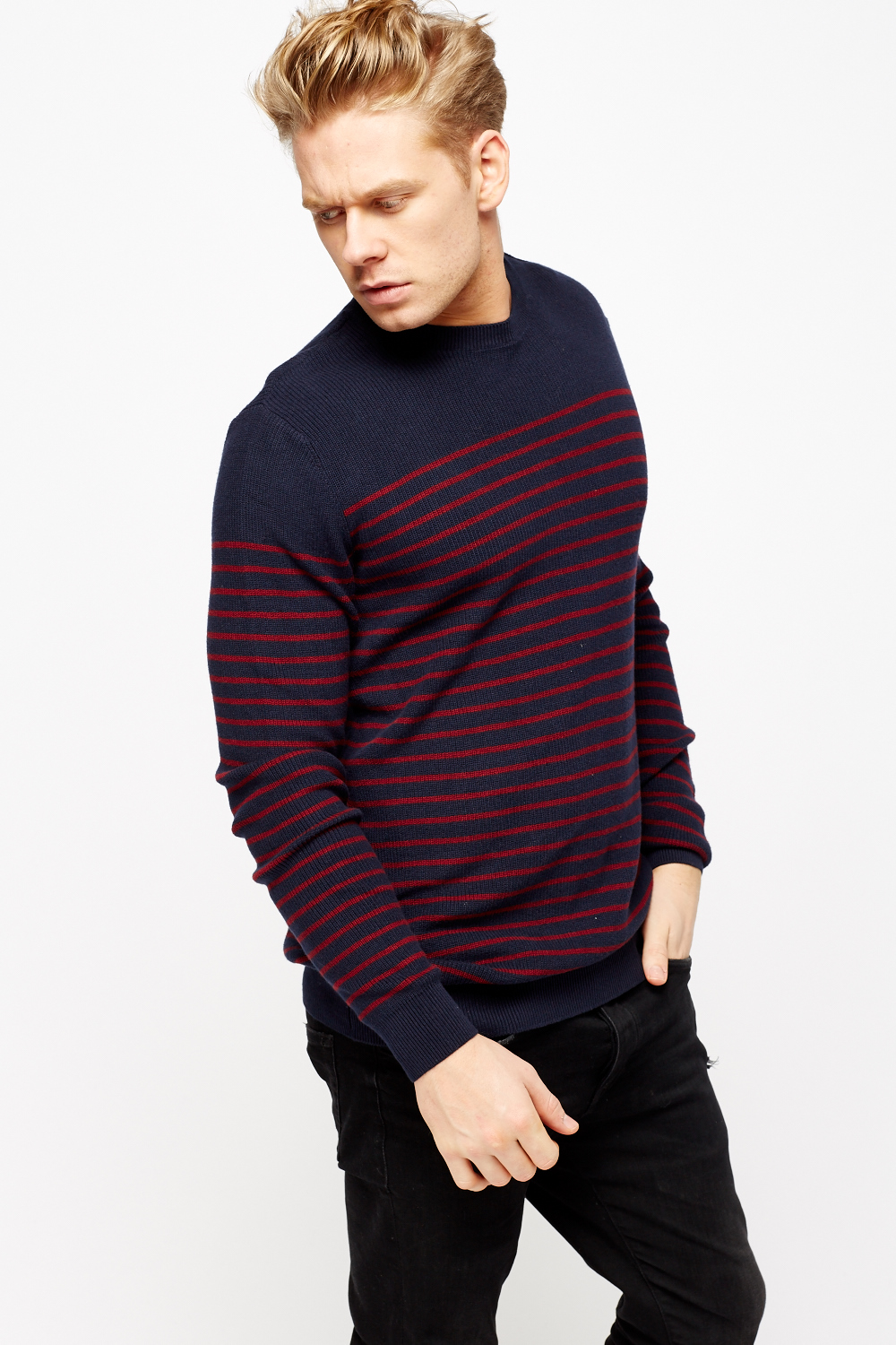 Knitting Mens Jumpers : Striped knitted mens jumper just £