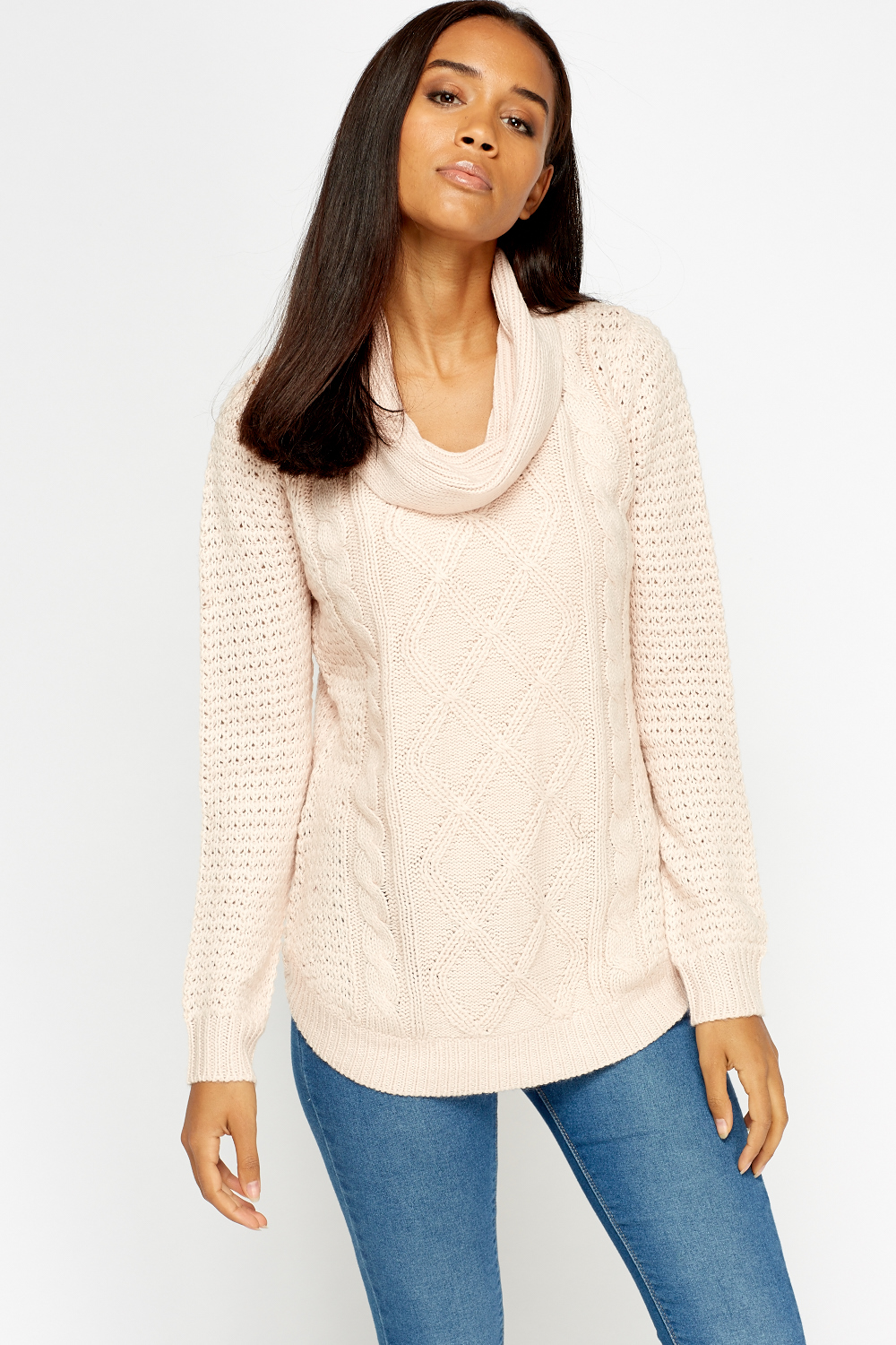 Cowl Neck Knitted Jumper - Just ?5
