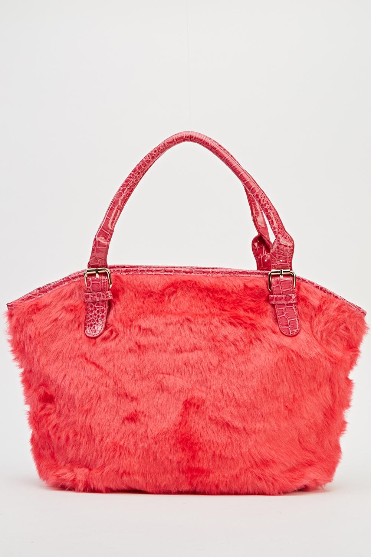 f555e1328536 PVC Handle Faux Fur Tote Bag - Just £5