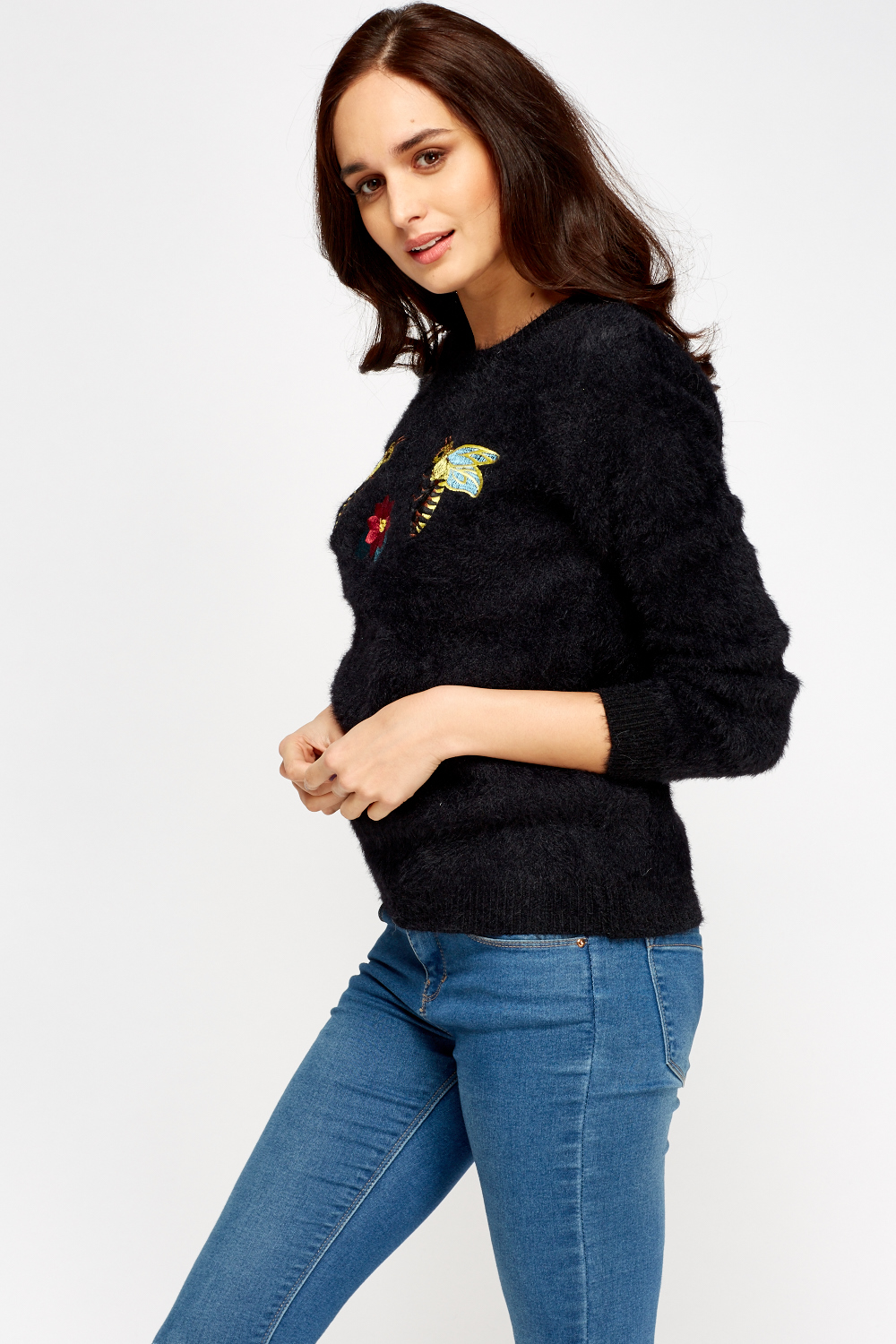 Embroidered Bumble Bee Eyelash Jumper Just 163 5