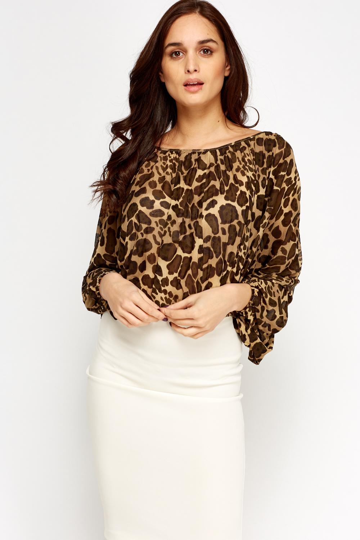 079146a1ef304d Off Shoulder Sheer Leopard Print Top - Just £5