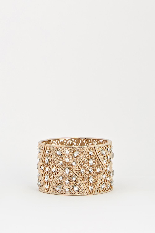 Encrusted Gold Wide Cuff Bracelet