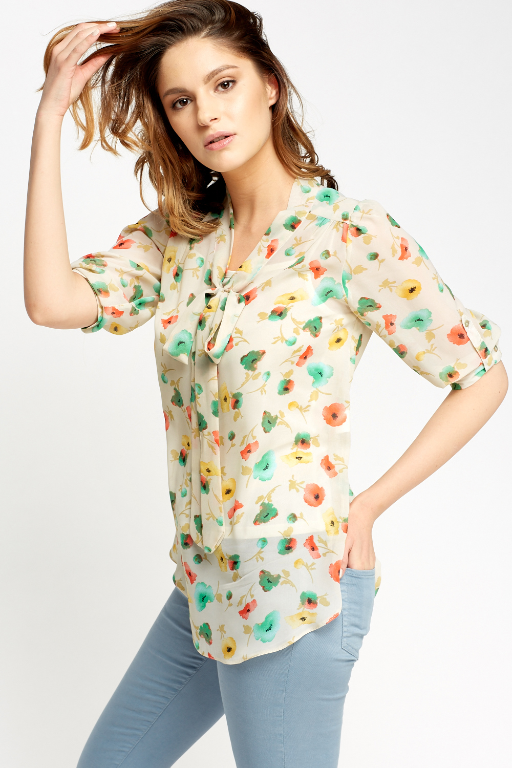 Mint Floral Tie Up Blouse - Just £5 ea8bed2b0