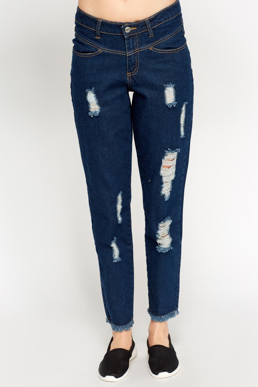 Ripped Cropped Denim Jeans - Indigo - Just £5