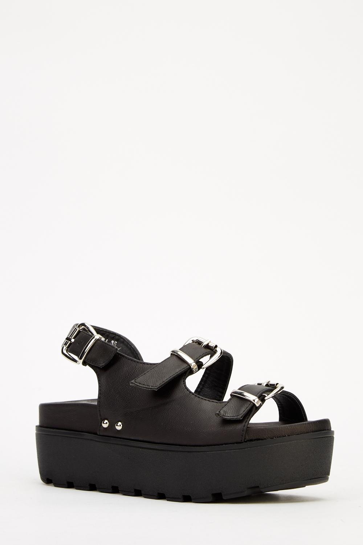 967c858d3 Black Platform Buckle Sandals - Just £5