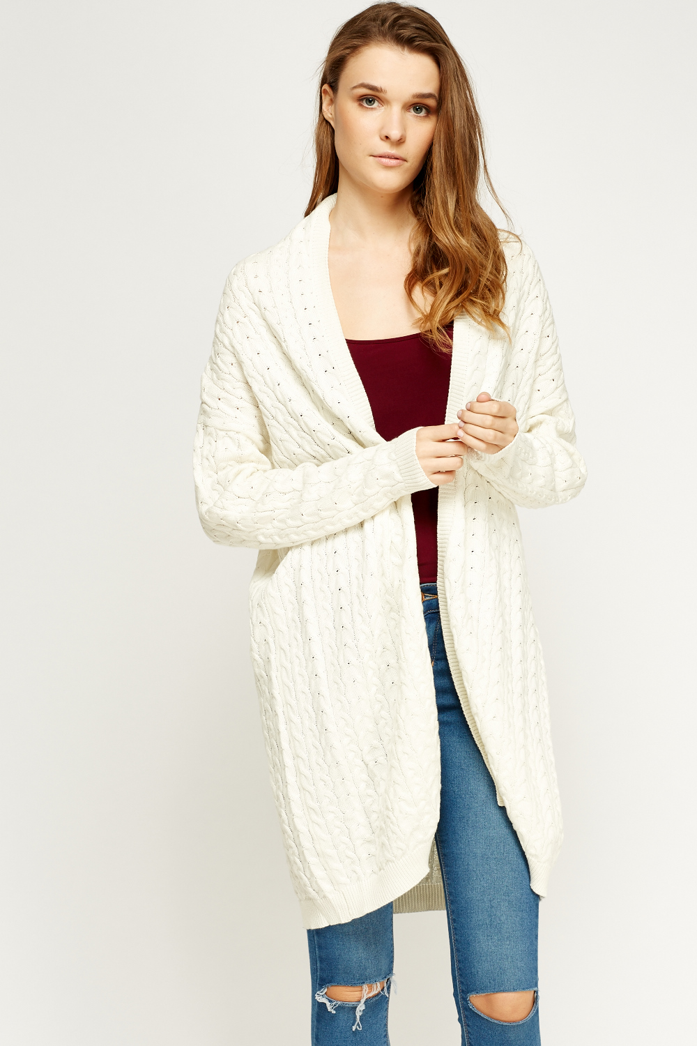 Cable Knit Long Line Cardigan Just 163 5