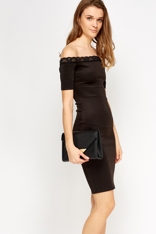 Lace Trim Off Shoulder Bodycon Dress - Black Or Pink - Just U00a35