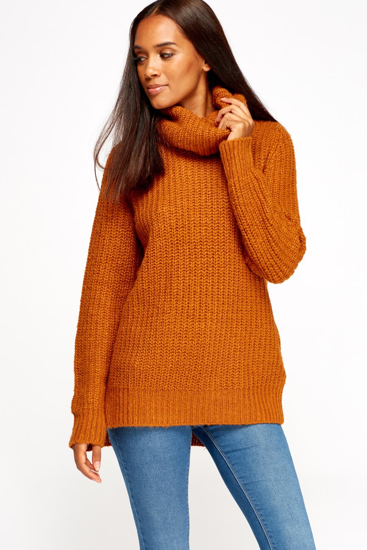 Knitted Cowl Neck Dip Hem Jumper - Just ?5