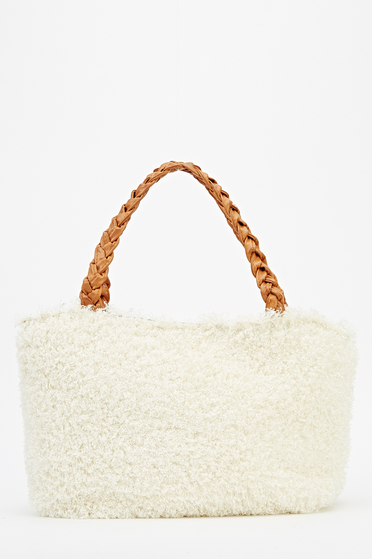 f0bd5d33f8 Woven Handle Fluffy Handbag - Just £5