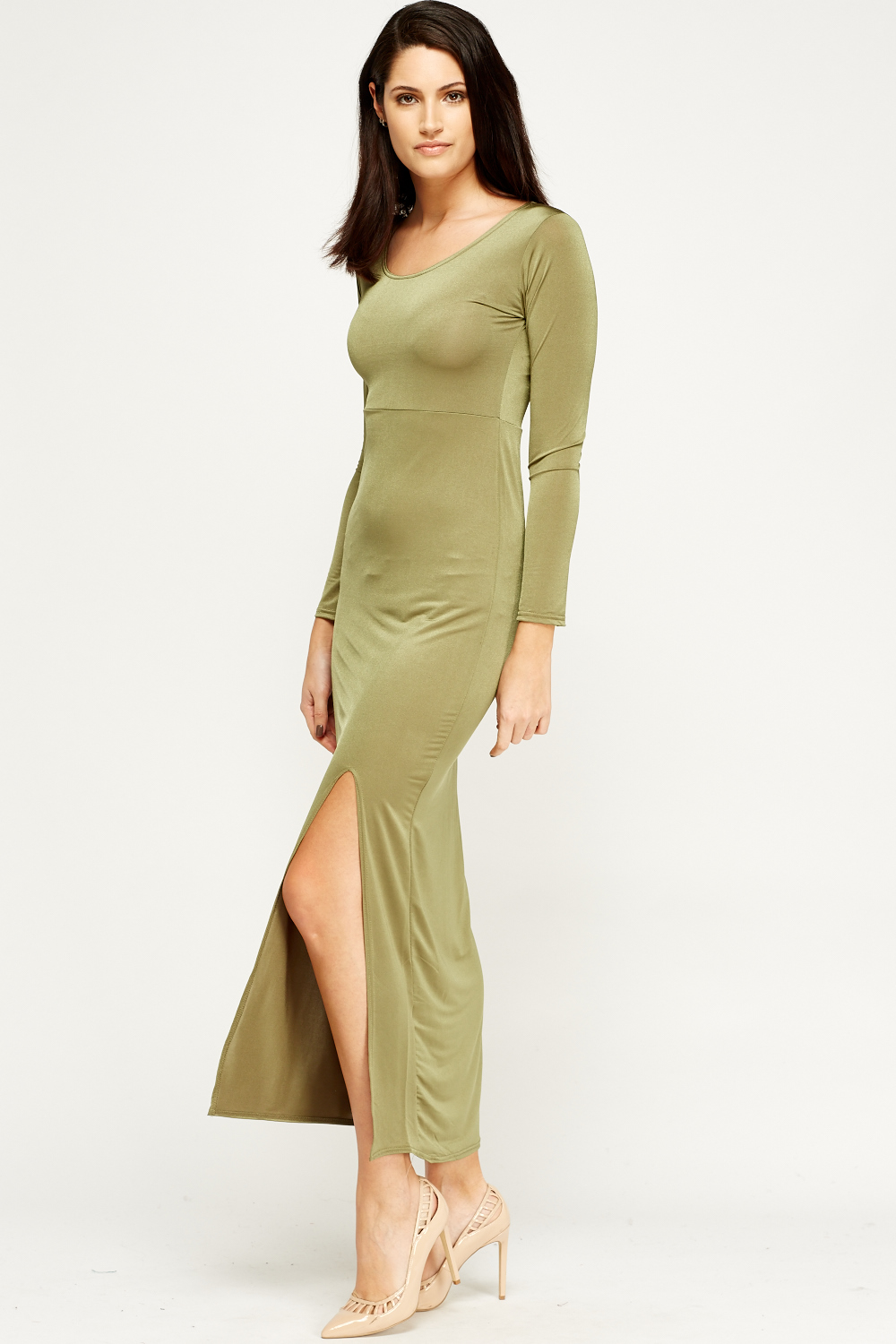 Long Sleeve Slit Front Maxi Dress Just 163 5