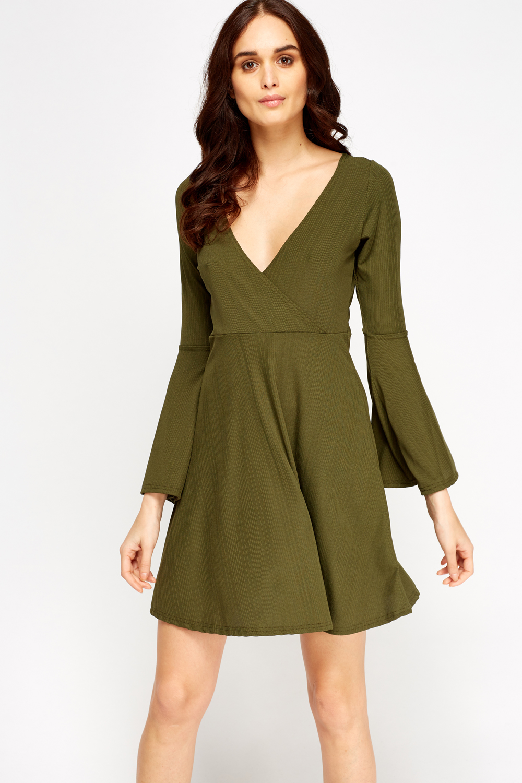 Ribbed Dark Green Plunge Dress - Just £5 80d2bc8d6