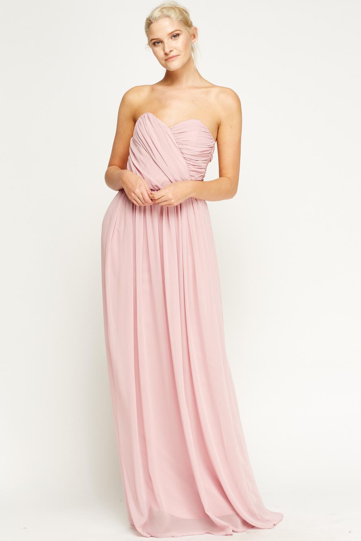 c98439e3e84 Light Mauve Bandeau Ruched Maxi Dress - Just £5