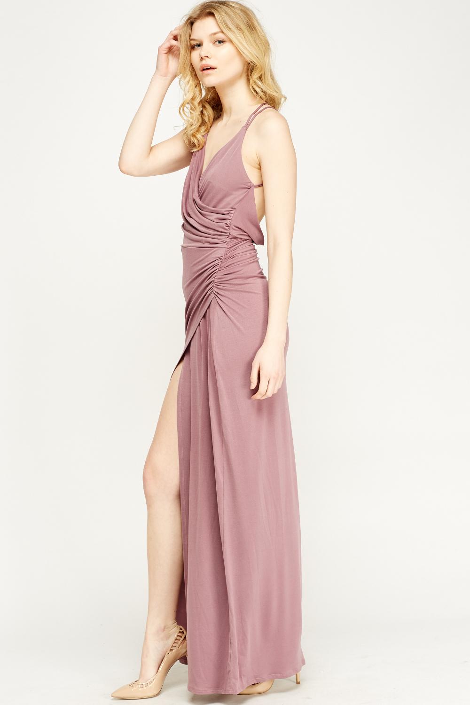 80877c1f07b Mauve Ruched Maxi Dress - Just £5