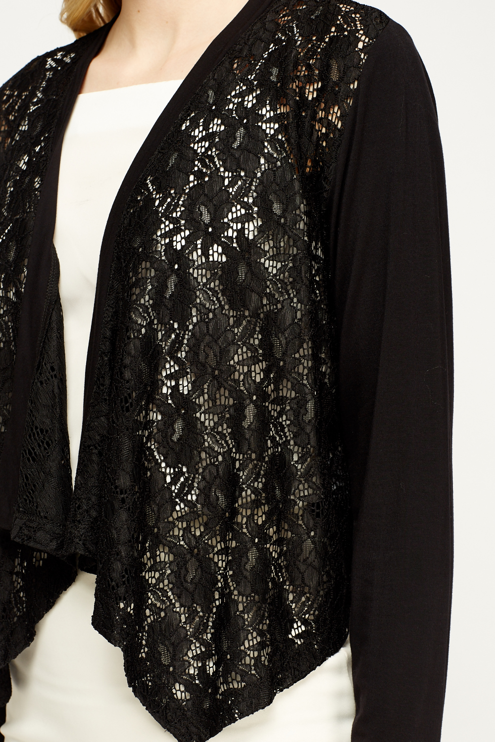 Lace Contrast Black Cropped Cardigan - Just £5