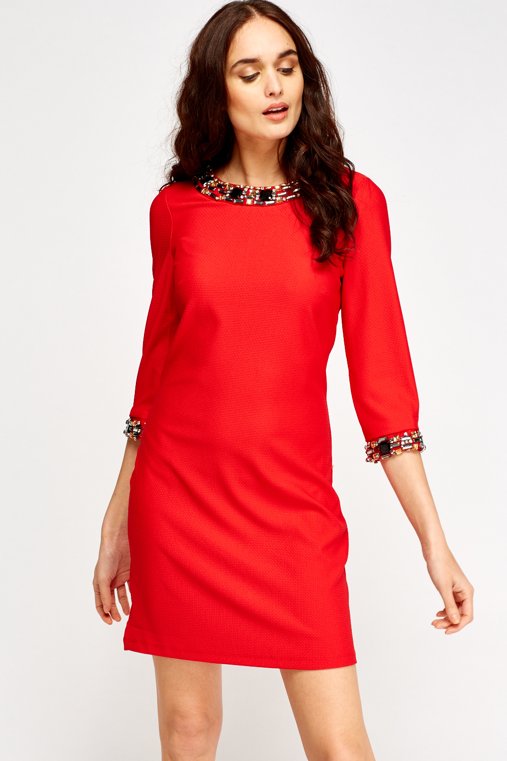 Shift Embellished dress pictures recommend to wear for winter in 2019