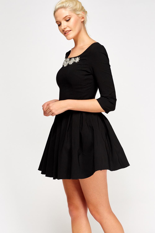 Jewelled Neck Mini Skater Dress - Just £5 3d09367b5