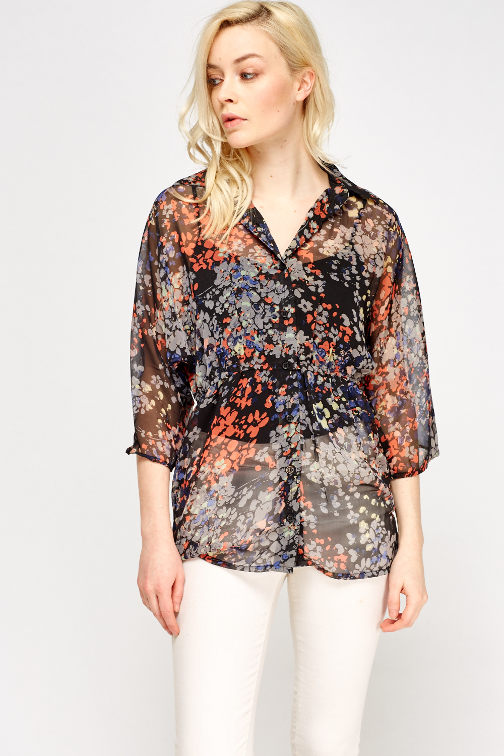 ee8ea260 Button Front Sheer Printed Blouse - Black/Multi - Just £5