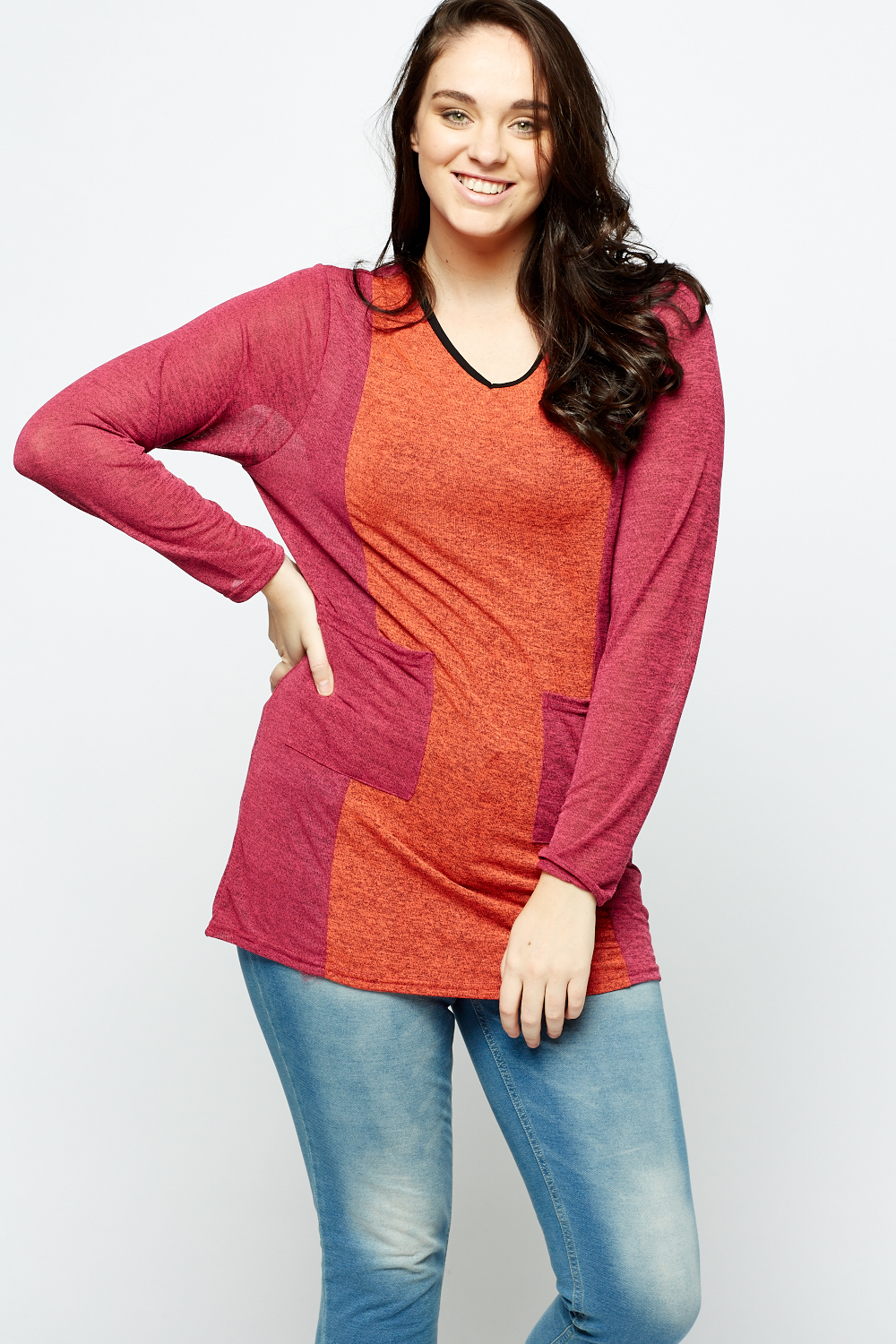 Colour Block Twin Pocket Tunic Top Just 163 5