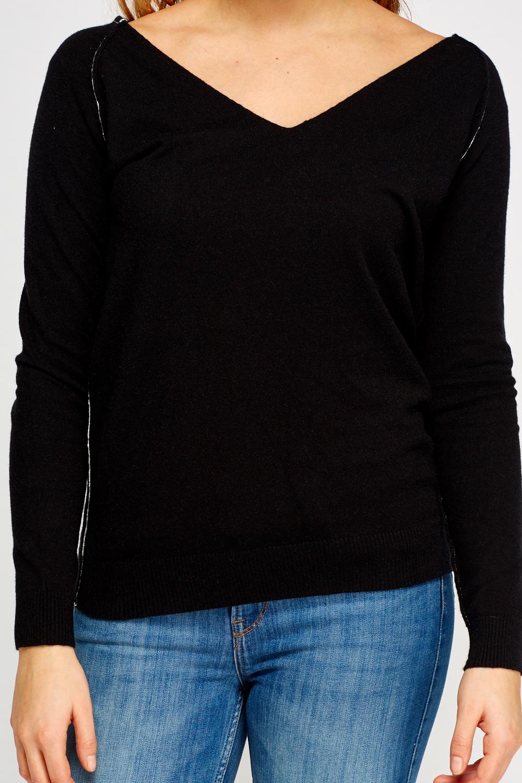 V-Neck Soft Knit Pullover - Just ?5