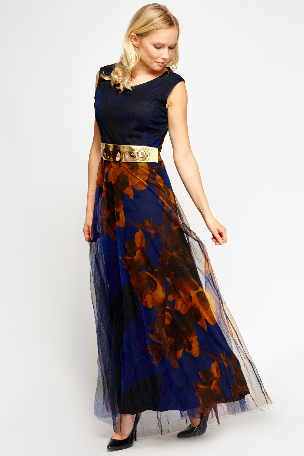 belted contrast maxi dress just 163 5