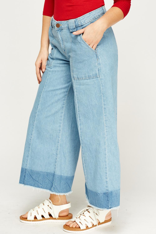 Denim Frayed Hem Wide Leg Culotte Jeans Just 163 5