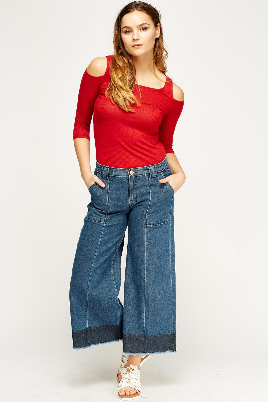 fad700b08d7 Denim Frayed Hem Wide Leg Culotte Jeans - Just £5