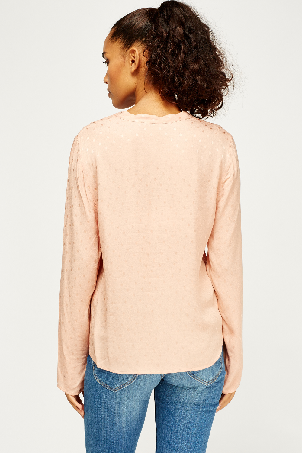 Peach Low Neck Blouse Just 163 5