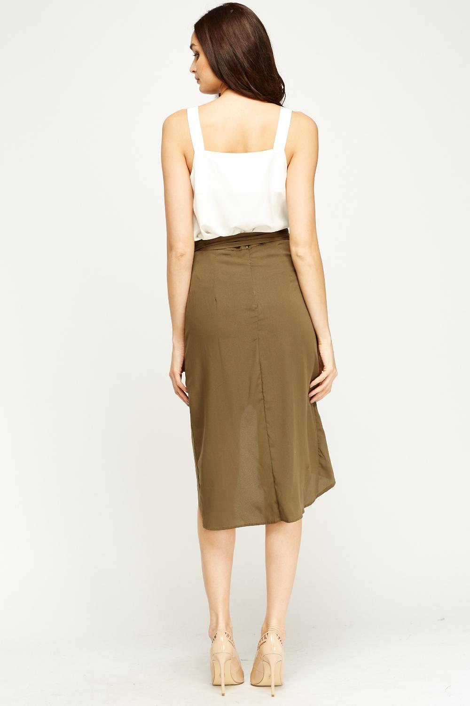 Olive Sheer Wrap Skirt Just 163 5