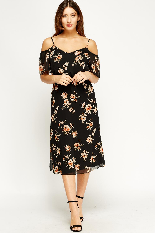 ec81601a05b Cami Floral Cold Shoulder Dress - Just £5