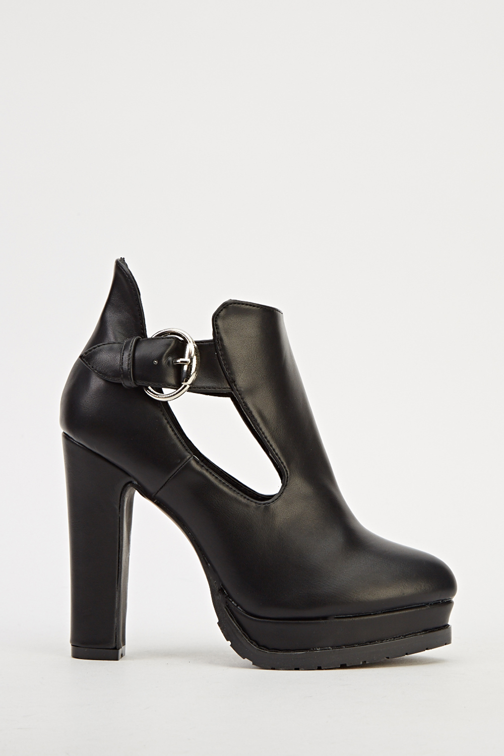 block heel faux leather ankle boots black just 163 5