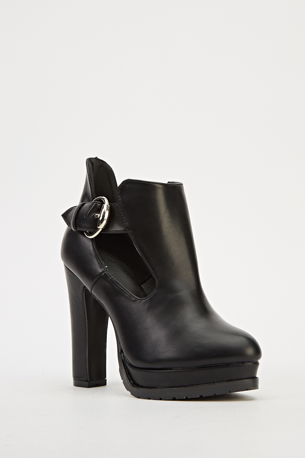 block heel faux leather ankle boots   black   just 5