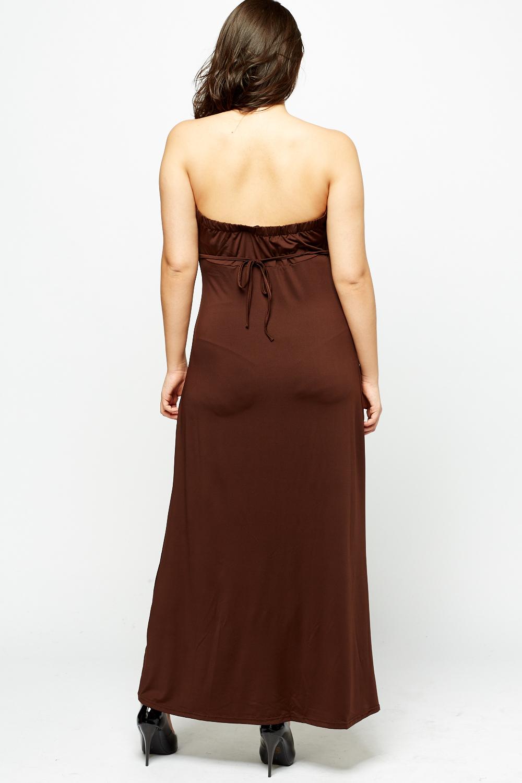 Off Shoulder Coffee Maxi Dress - Just $6